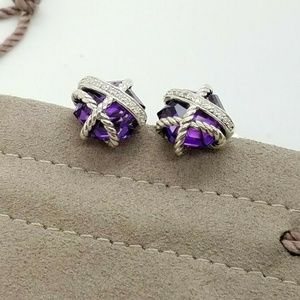 David Yurman Amethyst & Diamond Wrap Earrings